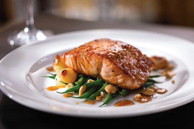 Citrus Honey Glazed Salmon with Green Beans and Cipollini Onions