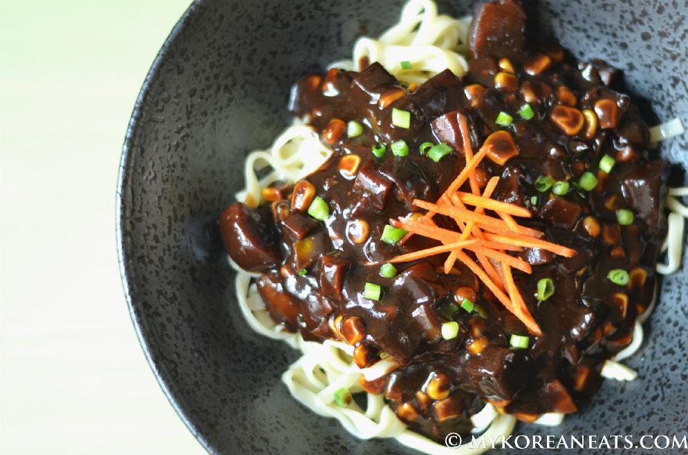 Foodista recipes cooking tips and food news vegetarian jajang vegetarian jajang myeon noodles w black bean sauce print this recipe forumfinder Gallery