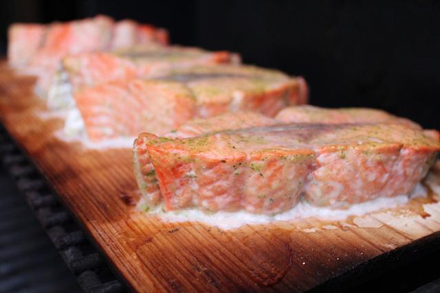 Cedar planked salmon with mustard dill sauce