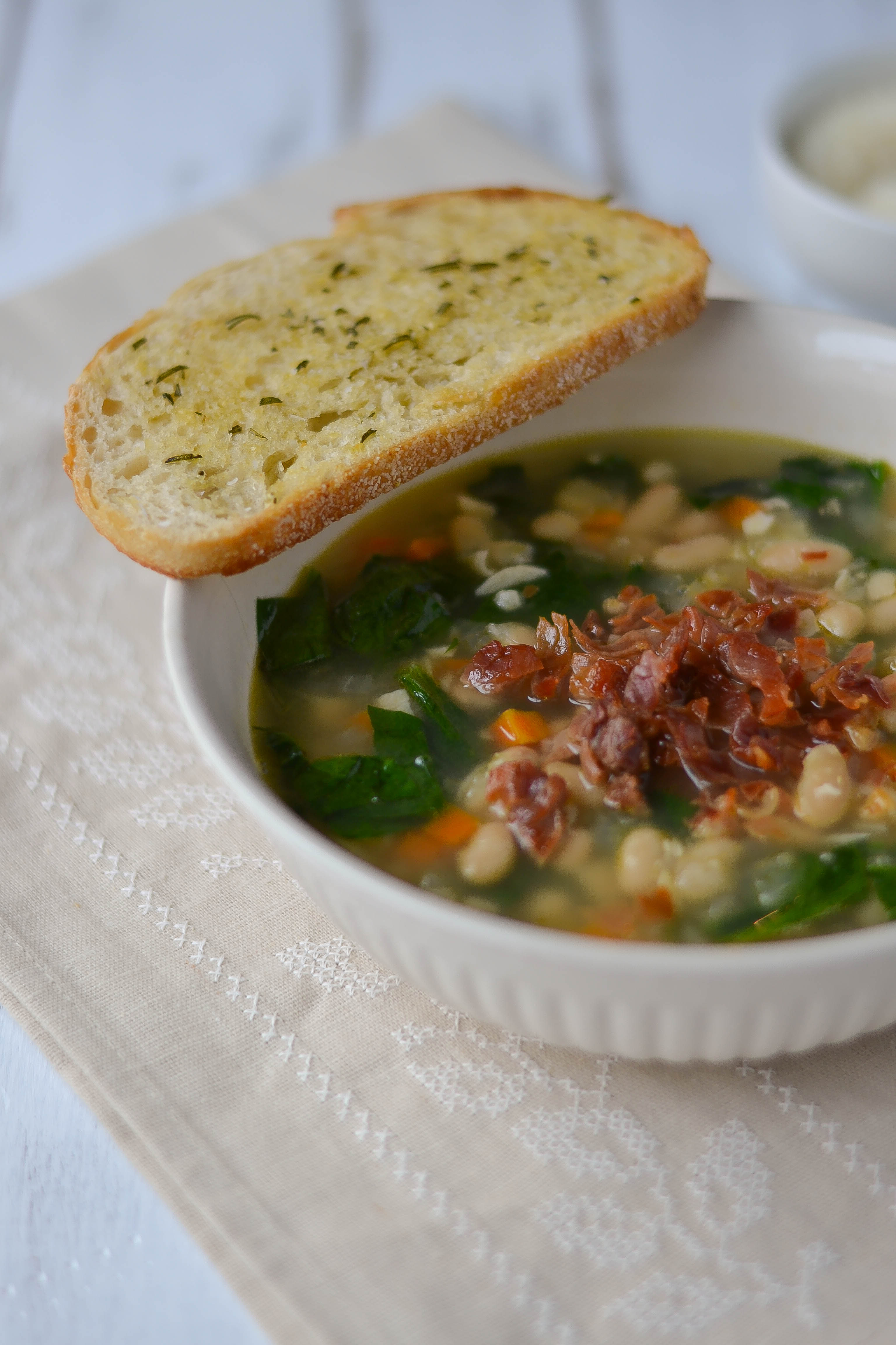 ... White Bean and Garlic Soup with Spinach and Crispy Prosciutto and
