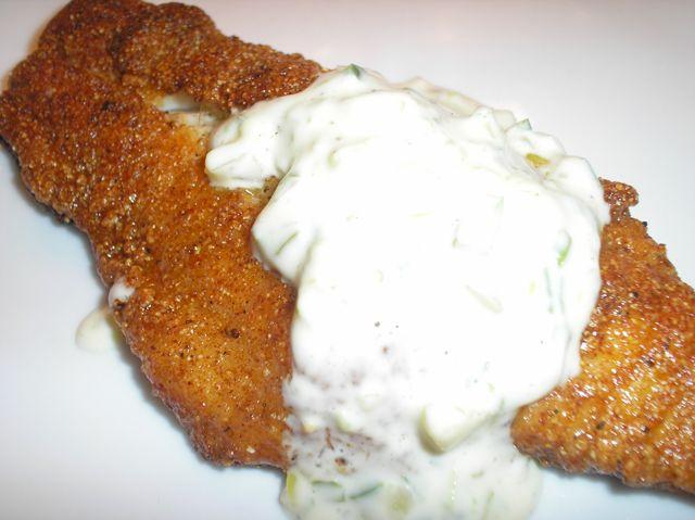 ... Cornmeal-Crusted Catfish with Cajun Seasoning and Spicy Tartar Sauce