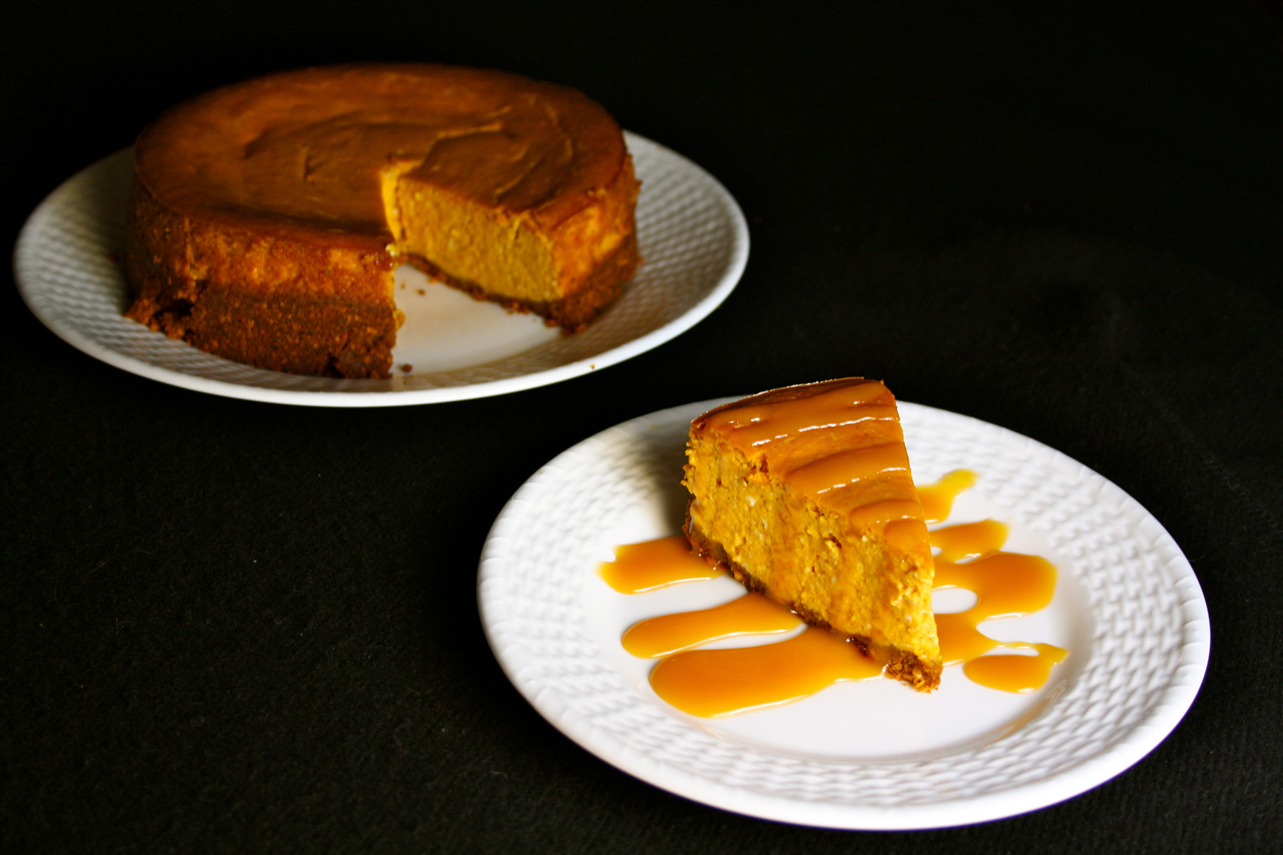 Spiced Pumpkin Cheesecake With Caramel-Bourbon Sauce Recipes ...