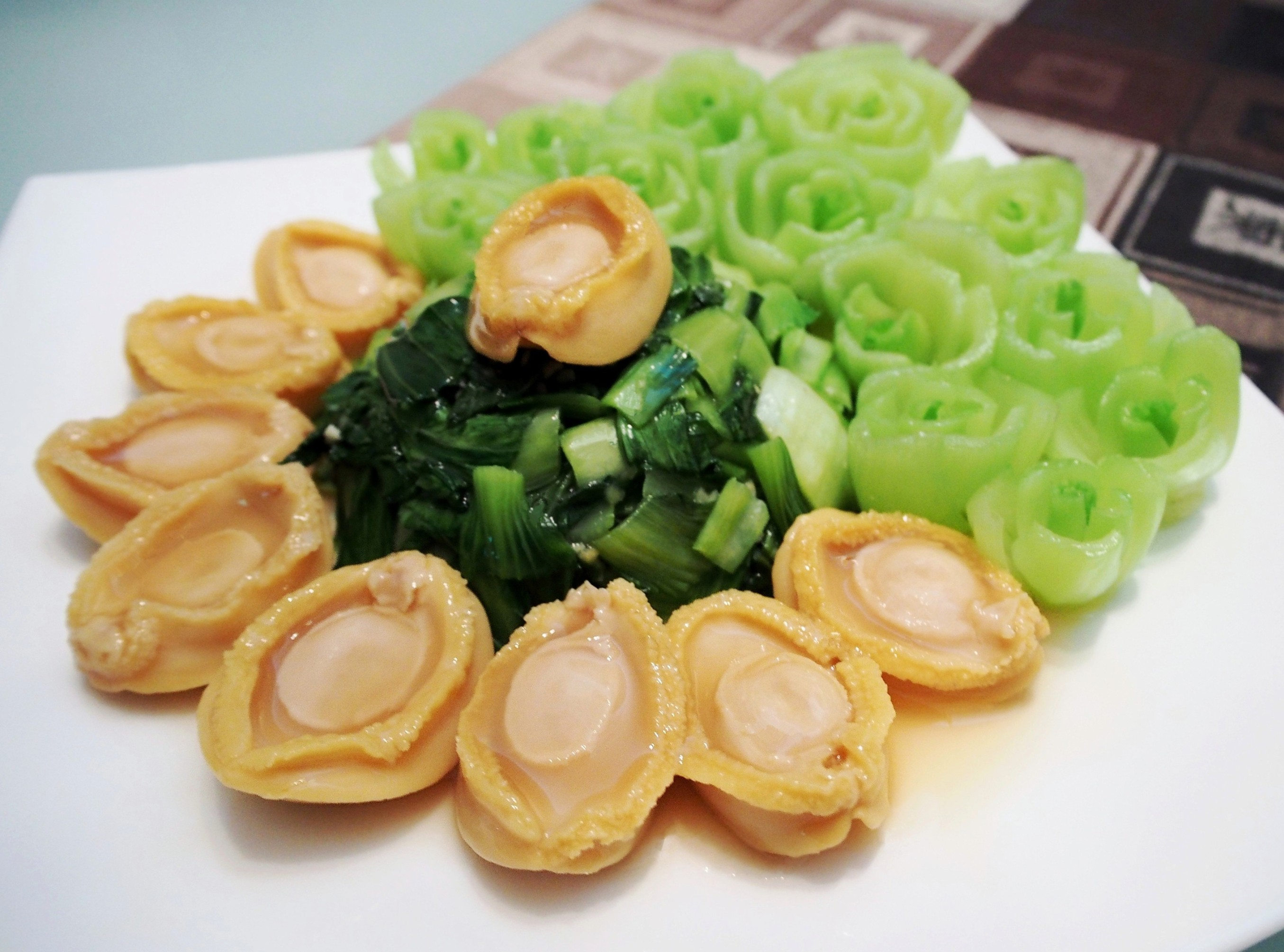 chinese new year baby abalones with bok choy print this recipe - Chinese New Year Food Recipes