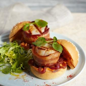 Bacon Wrapped Scallop Sliders
