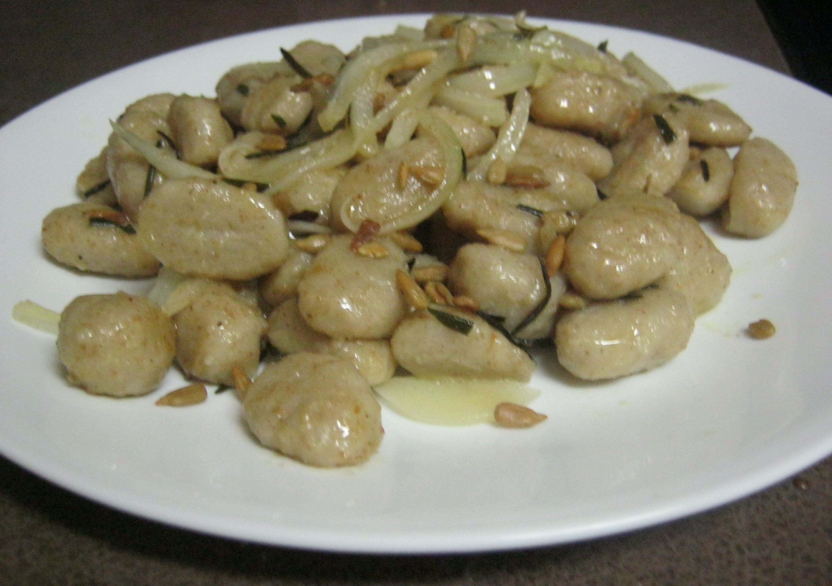 ... Whole Wheat Sweet Potato Gnocchi in a Warm Rosemary Brown Butter Sauce