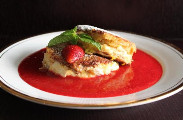 Image of Apple And Cream Cheese French Toast With Strawberry Coulis, Foodista
