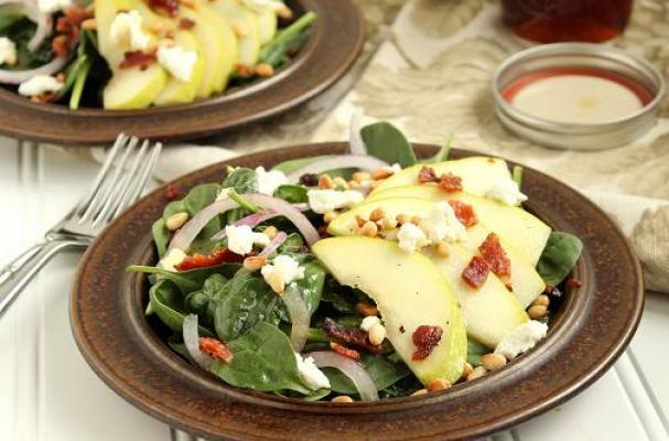 ... | Pear, Goat Cheese and Spinach Salad with Warm Maple-Bacon Dressing