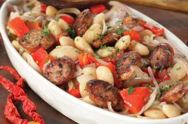 Giant Beans with Roasted Red Peppers and Sausages