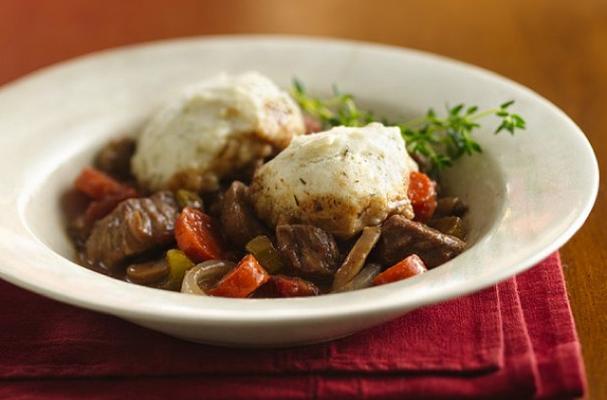 Slow Cooker Beef Burgundy Stew with Herb Dumplings