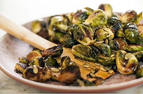 ... | Irresistible Maple-Roasted Brussels Sprouts with Pumpkin Seeds