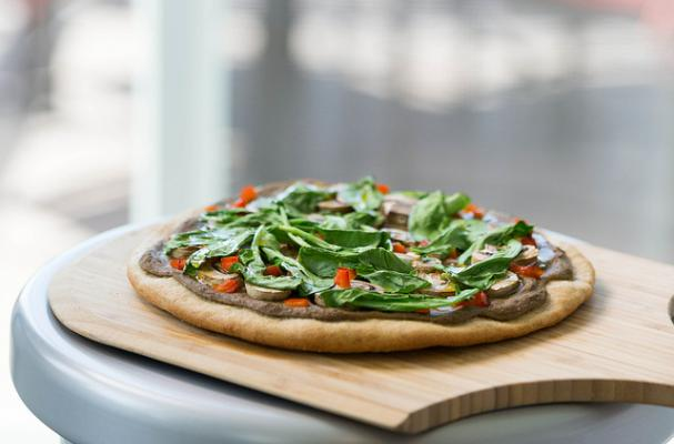 Creamy Garlic Eggplant, Roasted Mushrooms, and Arugula Pizza