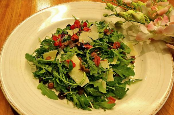 Arugula Salad with Mushroom Pancetta & Chickpea Croutons