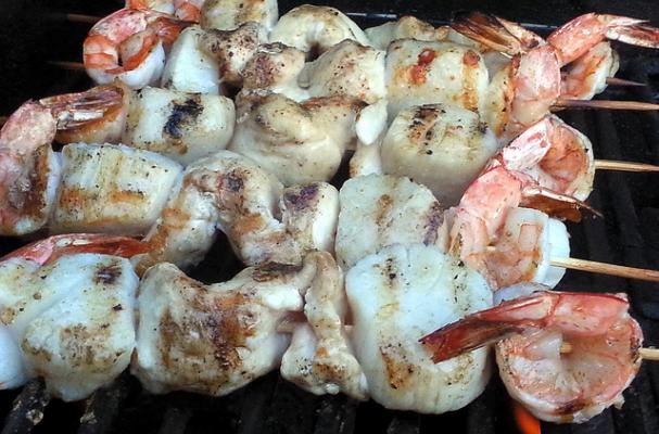 Shrimp, Scallop and Chicken Kebabs