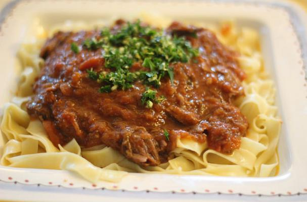 Slow Cooker Lamb Shanks with Pappardelle Pasta