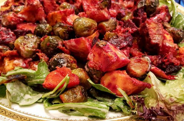 Autumn Roasted Vegetable Salad with Tahini Vinaigrette