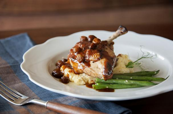 Pan Roasted Chicken with Moonshine Raisin Sauce