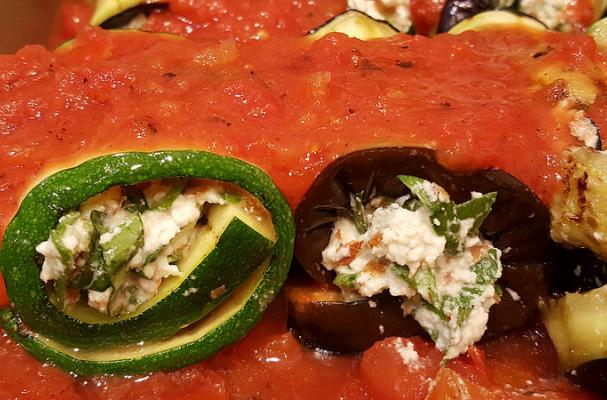 "Eggplant and Zucchini Roll-Ups Stuffed with Almond ""Ricotta"" Cheese"