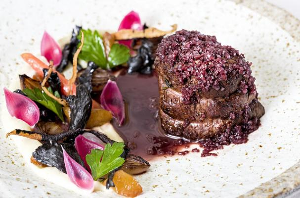 Bison Tenderloin with Roasted Vegetables and Shallot-Red Wine Sauce