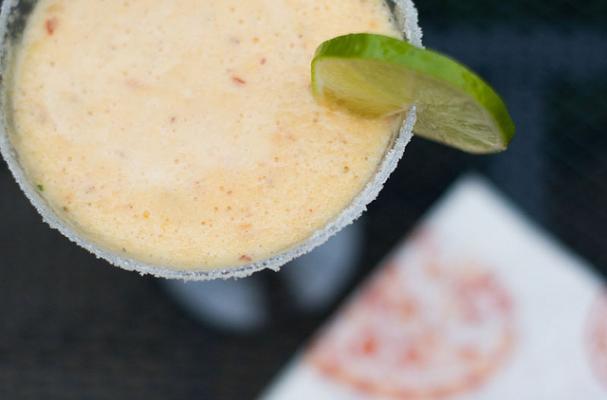 Fresh Peach Margarita With Lime Sugar