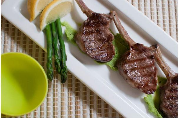 Grilled Lamb Cutlets With Fresh Pea and Broad Bean Puree