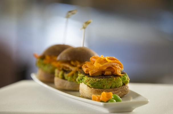 Edamame Burgers with Sumac-Spiced Carrot Curls