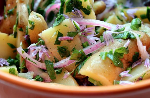 Fingerling Potato Salad with Pickled Red Onions and Chive Blossoms