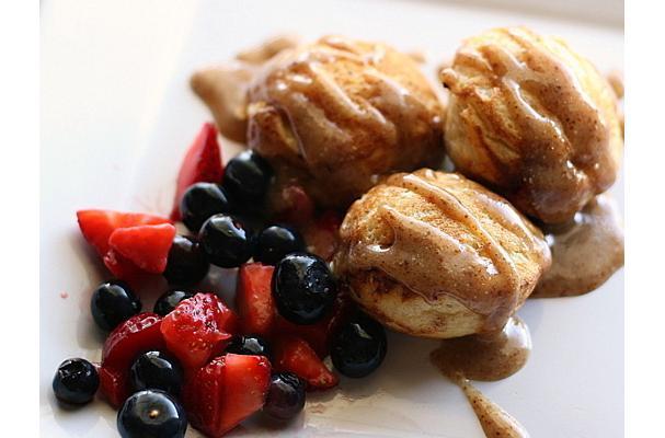 Strawberry-Buttermilk Ebelskivers With Almond-Honey Glaze