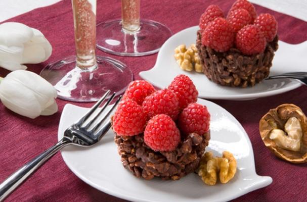 Easy Raspberry and Walnut Chocolate Tartlets
