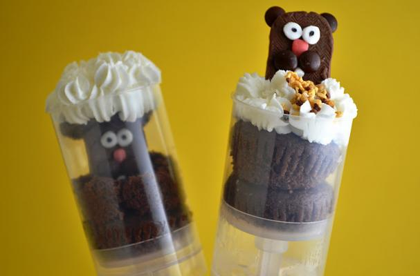 Groundhog Day Cupcake Push Pops