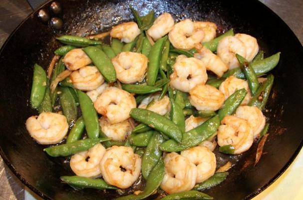 Foodista | Garlic and Ginger Stir-Fried Shrimp with Snow Peas
