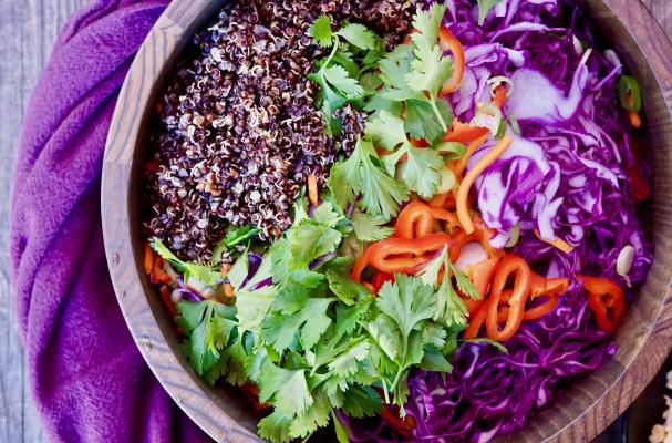 Gluten Free Quinoa Vegetable Slaw with Peanut Dressing