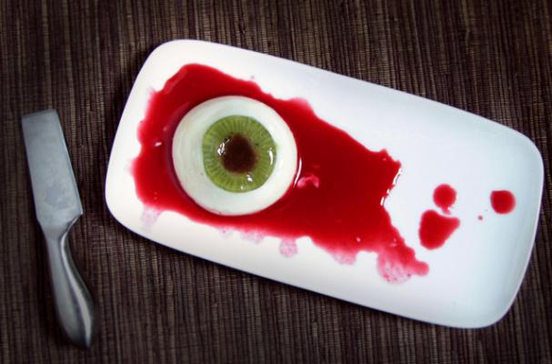 Guten Free Coconut Panna Cotta with Kiwi and Raspberry Eyeball