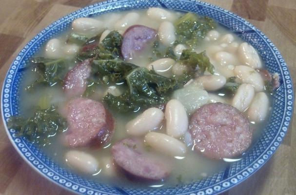 smoky sausage, kale, white bean soup