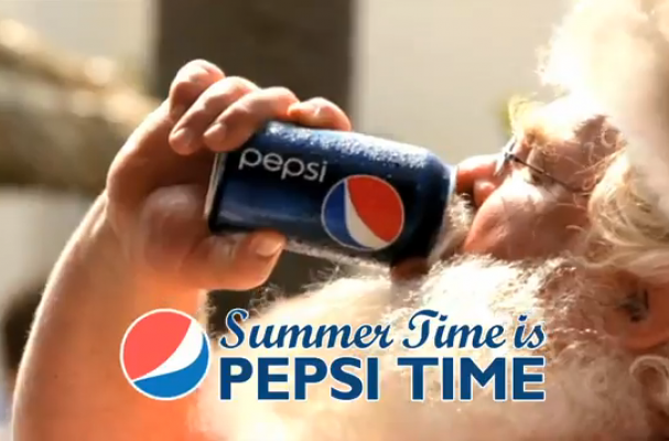 Santa in Summer Time is Pepsi Time Commercial