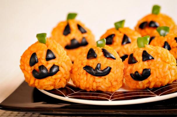 Halloween Carrot Rice Ball Jack O' Lantern Bites