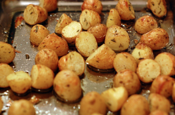 ... : Roasted Potatoes with Rosemary, Caramelized Onions, and Bleu Cheese