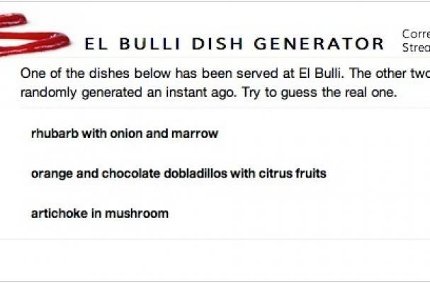 el bulli dish generator