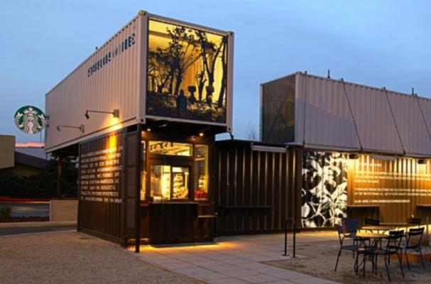 shipping container Starbucks Coffee Shop