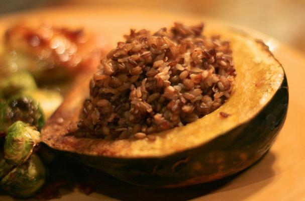 Foodista Fall Cooking Apple And Rice Stuffed Acorn Squash