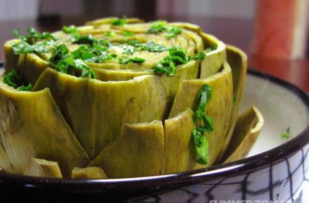 Foodista | Seasonal Eating: Easy Italian Steamed Artichokes