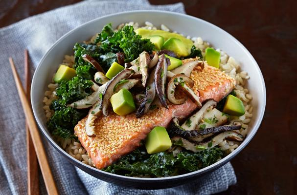 Salmon and Brown Rice Bowl with Avocado Hollandaise Sauce, Shiitake Mushroom Relish and Ginger Kale