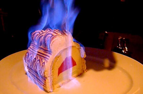 baked alaska bombe flambé