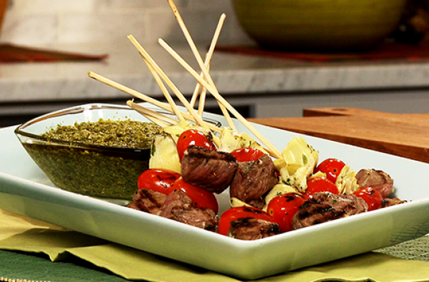 Great Grilled Bison Skewers with Pesto Dipping Sauce