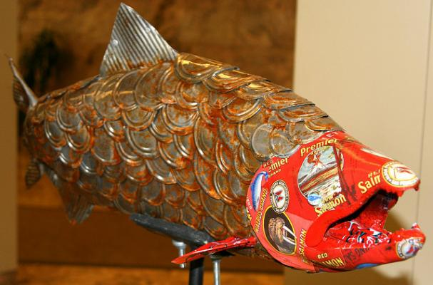 canned salmon recycled art