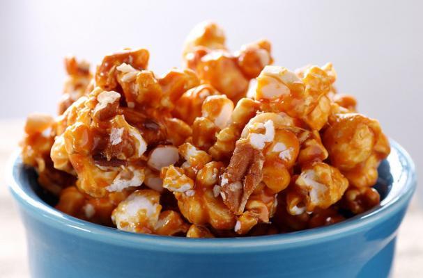 caramel corn ready to be transformed into popcorn balls!