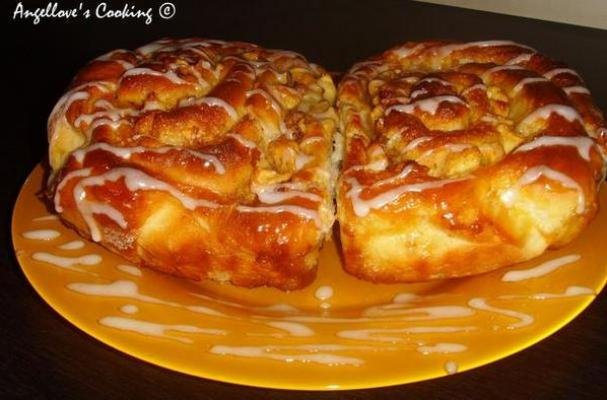 Caramel Apple Cinnamon Rolls with Raisins and Walnuts