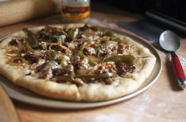 Thin Crust Cheesesteak Pizza