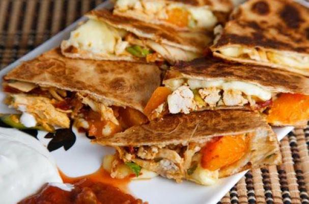 Chicken, Apricot and Brie Quesadillas