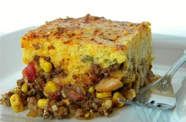 Mexican Cornbread With Ground Beef cheddar cornbread crust is