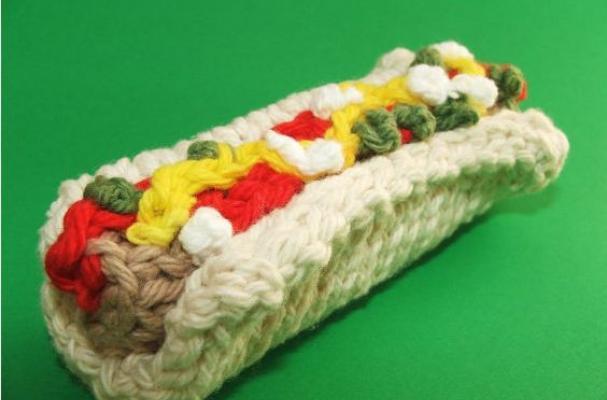 crocheted Hotdog